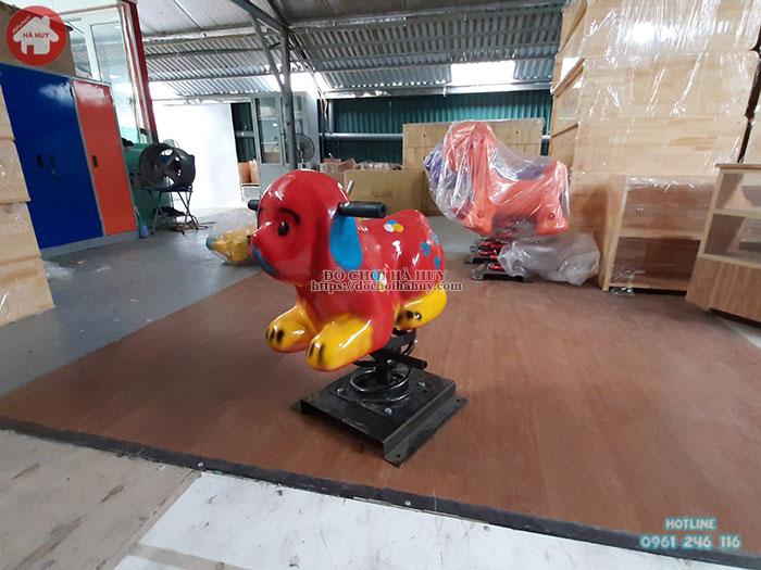 Thú nhún lò xo con chó đốm nhựa composite giá rẻ HB2-002