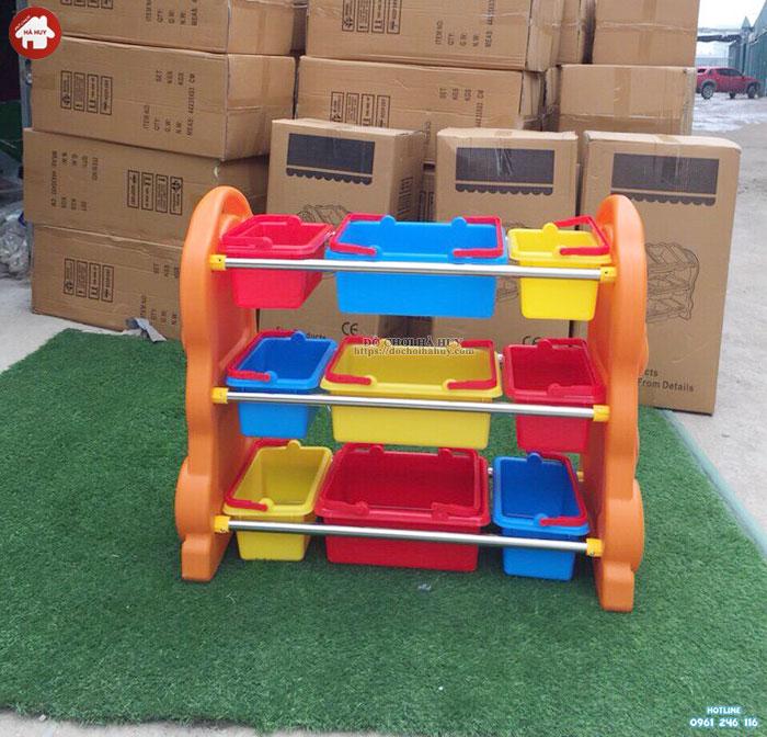 Giá để đồ chơi cho bé nhựa nhập khẩu hình Gấu HA2-004