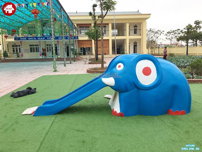 Tượng cầu trượt con voi vườn cổ tích HB11-014