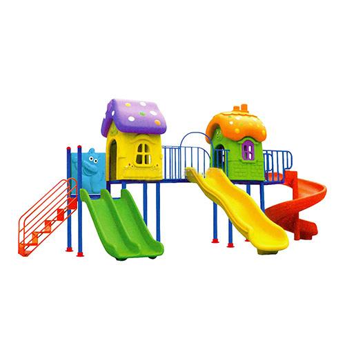 Nhà khối liên hoàn cầu trượt ngoài trời 2 khối, sân chơi trẻ em HB10-012