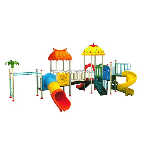 Cầu trượt liên hoàn ngoài trời 3 khối kèm xà đu cho trẻ HB10-025