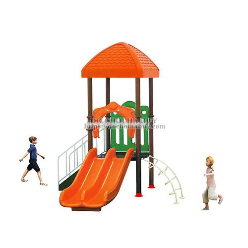 Nhà chòi cầu trượt đôi 1 khối cho bé giá rẻ HB6-004