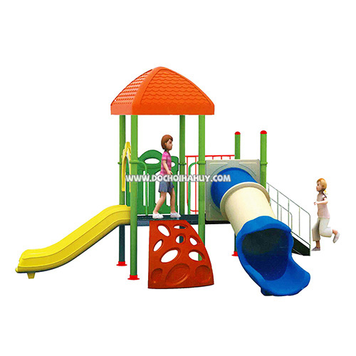 Nhà chòi cầu trượt liên hoàn 2 khối đồ chơi ngoài trời HB8-015