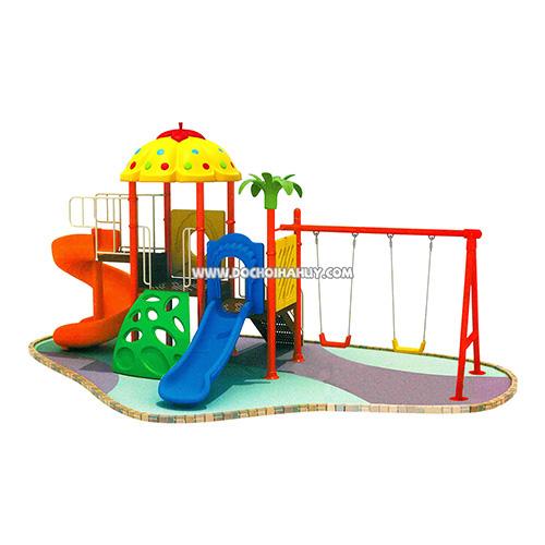 Nhà chòi cầu trượt liên hoàn kèm xích đu đôi 2 khối cho trẻ em HB9-002
