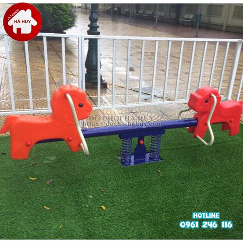 Bập bênh lò xo ngoài trời 2 chỗ con chó đỏ HB2-033