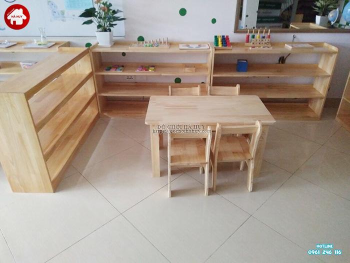 Bàn gỗ mầm non chân gỗ cao 50cm HC1-007
