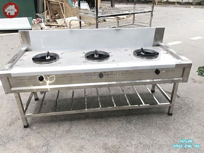 Bệ bếp 3 công nghiệp inox cao cấp cho trường mầm non HD3-015