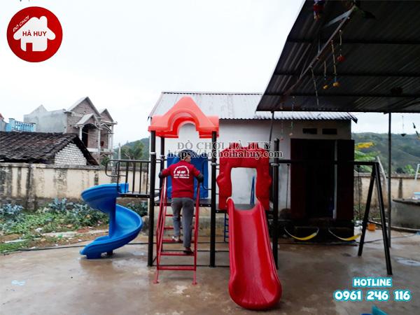 Lắp đặt nhà khối liên hoàn kèm xích đu tại trường mầm non ở Bắc Giang-3
