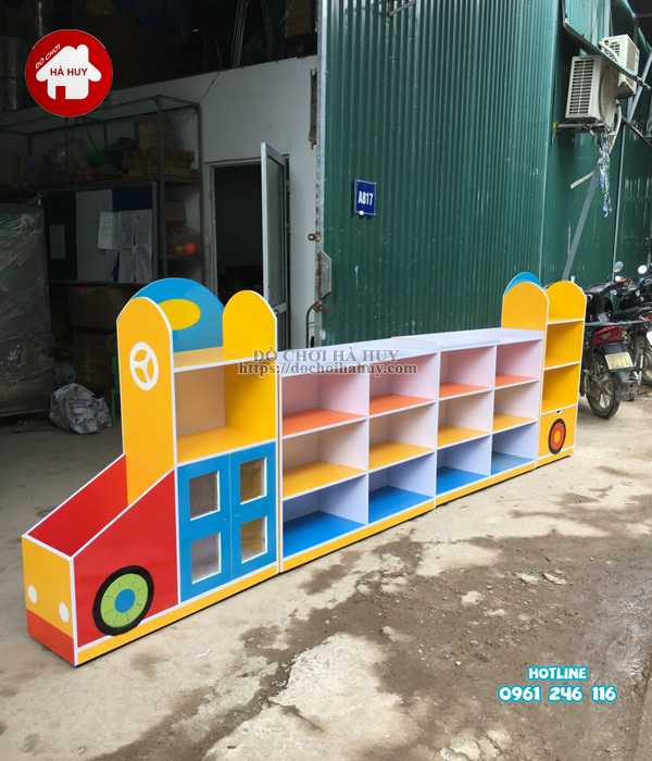 Sản xuất tủ kệ mầm non hình ô tô cho trường mầm non-6