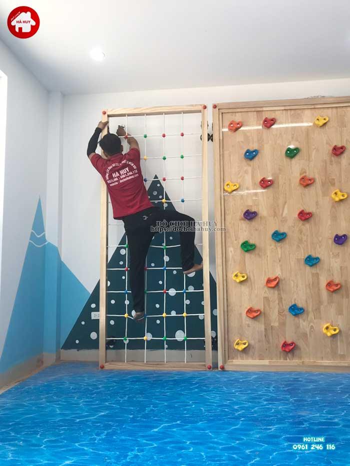 Lắp đặt vách leo núi, nhà leo cầu trượt cho trường mầm non Rainbow kindergarten-4