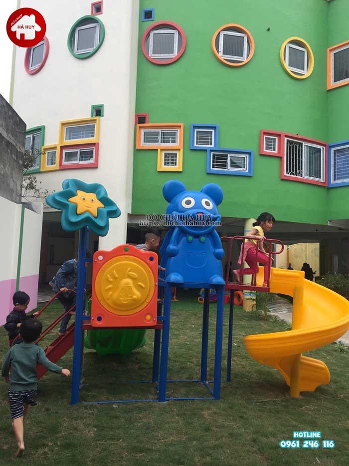 Sản xuất lắp đặt nhà chòi cầu trượt cho trường mầm non tại Hà Nội-1
