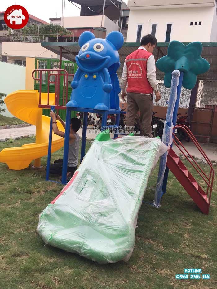 Sản xuất lắp đặt nhà chòi cầu trượt cho trường mầm non tại Hà Nội-2