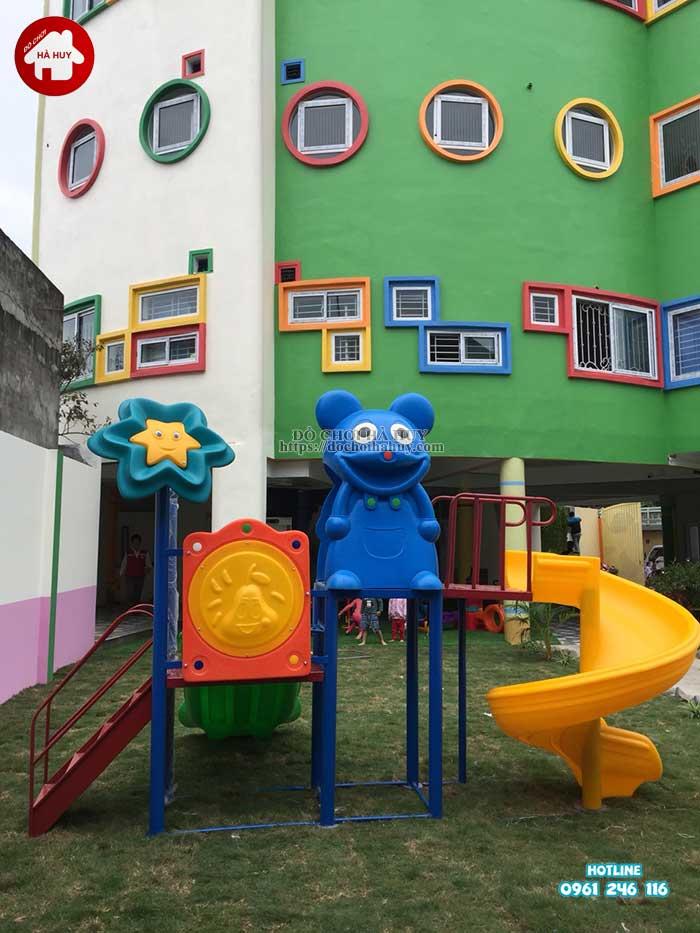 Sản xuất lắp đặt nhà chòi cầu trượt cho trường mầm non tại Hà Nội-4