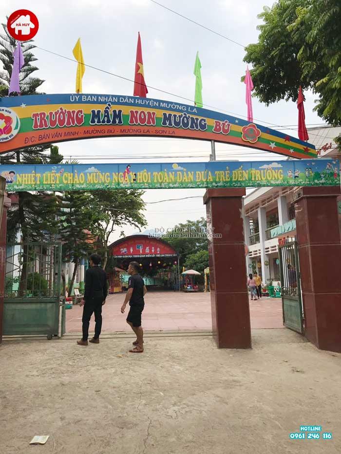 Sản xuất lắp đặt đồ chơi ngoài trời cho trường mầm non Mường Bú, Sơn La