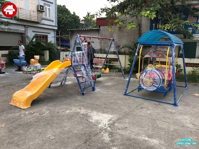 Sản xuất lắp đặt đồ chơi ngoài trời mầm non cho khách hàng tại Hà Nội-1
