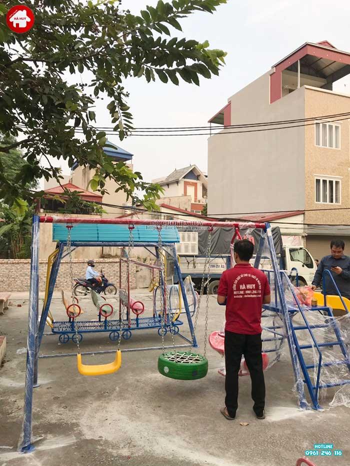 Sản xuất lắp đặt đồ chơi ngoài trời mầm non cho khách hàng tại Hà Nội-5