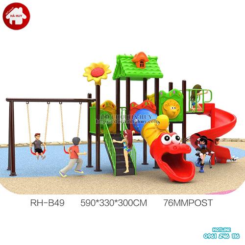 Bộ nhà cầu trượt liên hoàn trẻ em kèm xích đu HB10-108