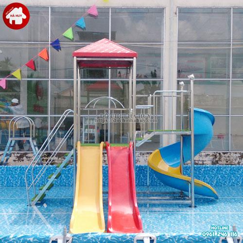Bộ liên hoàn cầu trượt bể bơi đẹp hiện đại HB10-005