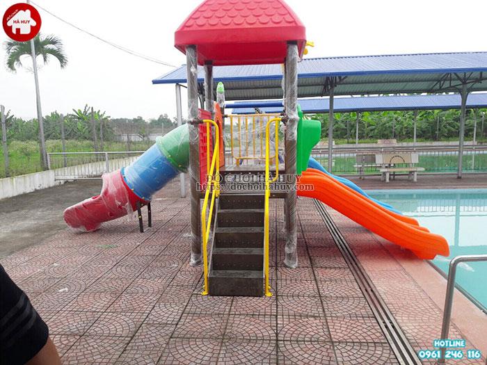 Cầu trượt cho bể bơi kèm xích đu cao cấp HB12-013-4