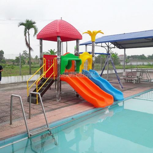 Cầu trượt cho bể bơi kèm xích đu cao cấp HB12-013