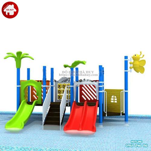 Cầu trượt liên hoàn cho bể bơi 2 khối HB12-003