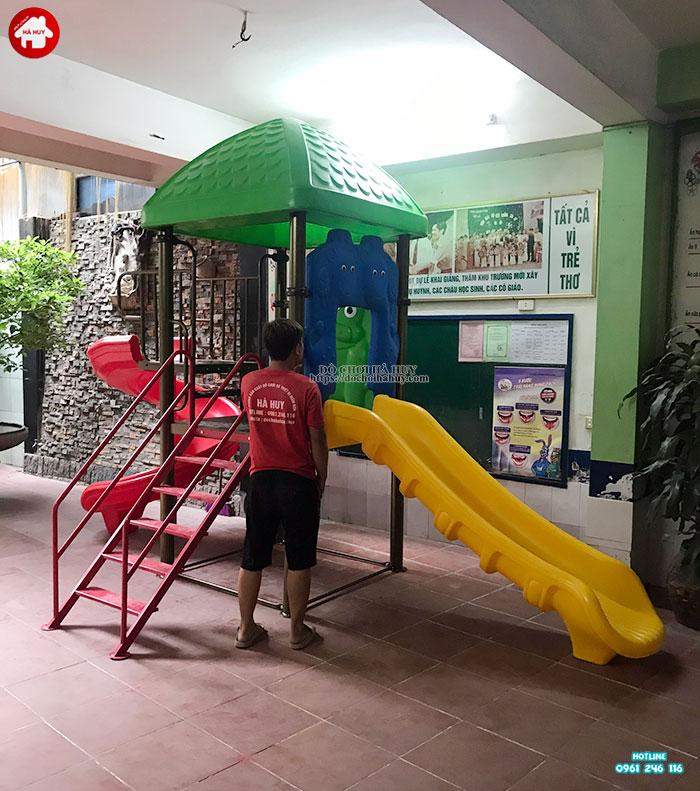 Lắp đặt đồ chơi ngoài trời mầm non cho khách tại Mỹ Đình, Sóc Sơn, Hà Nội