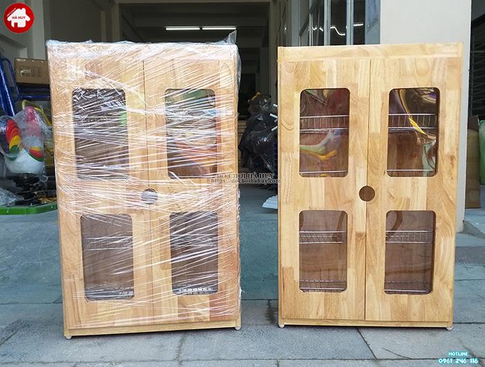Tủ úp cốc ca inox khung gỗ 2 cánh HD2-001A