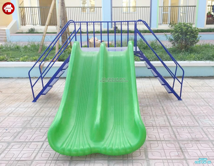 Thang leo cầu trượt máng đôi nhựa nhập khẩu cho bé mầm non HB1-024