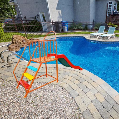 Thang leo cầu trượt đơn hồ bơi composite HB12-018