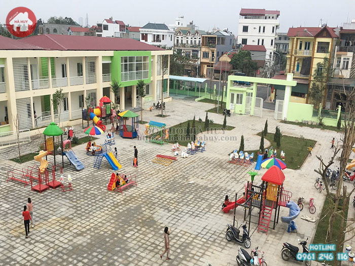 Thi công lắp đặt siêu công trình sân chơi trẻ em cho trường mầm non tại Đông Anh