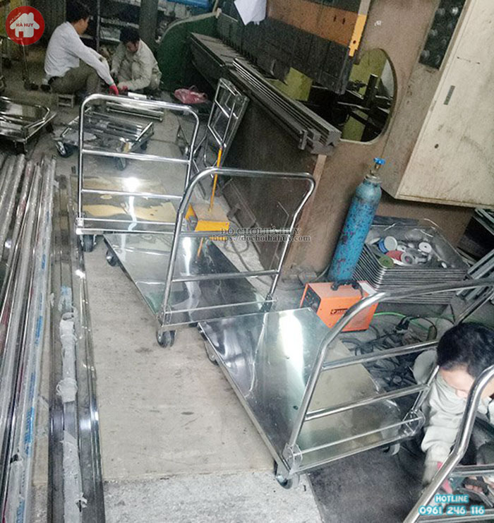 Xe đẩy tay gập inox cho bệnh viện và trạm y tế chất lượng HD3-042