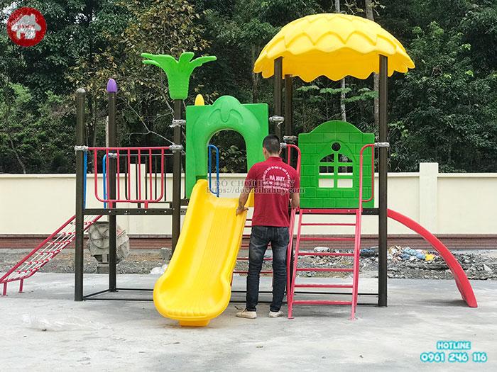 Lắp đặt sân chơi trẻ em ngoài trời cho trường mầm non tại Hà Giang
