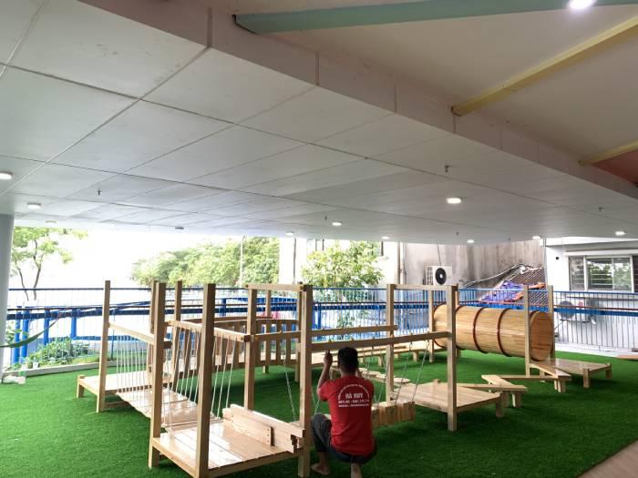 Lắp bộ vận động gỗ liên hoàn trường mầm non đa trí tuệ ở Hà Nội